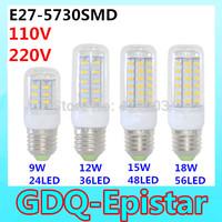 1Pcs SMD 5730 E27 LED lamp 9W=24LED, 12W=36LED, 15W=48LED, 18W=56LED Ultra Bright 5730SMD LED Corn Bulb light Chandelier