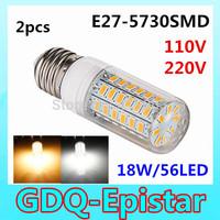 2pcs 56LEDs SMD 5730 18W Mix order E27 E14 LED Corn Bulb AC 110V 220V 240V Ultra Bright  LED lamp Spotlight Chandelier lighting