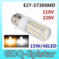 1pcs New Arrival 48LEDs SMD 5730 15W E27 LED Corn Bulb AC 220V 110V 240v Ultra Bright  LED lamp Spot light Chandelier lighting
