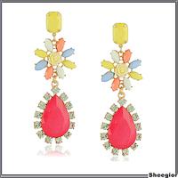 Fashion Colorful Rhinestone Rose flower earrings Long Gold Big drop earrings for women banquet Fine jewelry