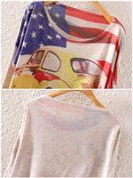 American Flag Car Print Fashion Women's Loose Sweaters Kniited