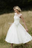 2014 Summer New A Line Sheer Jewel Neck Sleeveless Short Chiffon Tea Length Beach Wedding Dresses Bridal Gowns Custom Made