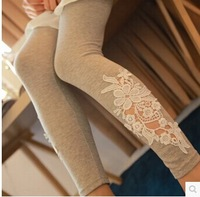 4 Color spring autumn new Korean version  influx women Lace Flower Printing  outer wear thin outer wear tight leggings