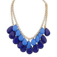 2015 Real Promotion Free Shipping Trendy Women Power Necklaces Resin Link Chain Plant Collares Bohemian Double Droplets Necklace