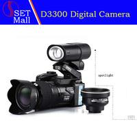 "2014 Newest D3300 Digital Camera DSLR 16MP 16X Digital Zoom 21X Optical Zoom Telephoto Lens,3.0""LCD+LED Spotlight+Tripod"