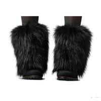 FASHION WINTER AUTUMN 20cm SHORT SHOES ANKLE BOOTS TOPPER COVER BLACK FAUX FUR FURRY FUZZY PLUSH WOMEN LEG WARMER TRENDY J13