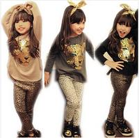New 2014 Fashion Winter Autumn Children Girls Clothing Sets Kids Girl 2pcs Leopard Suits Long sleeve T shirt + Leopard Leggings