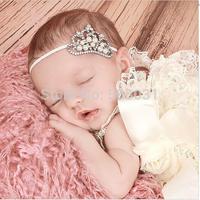 10pcs Precious Rhinestone Pearl Tiara Elastic Headband Newborn Baby Infant Photo Prop Tiara Baptism Christening Princess Crown