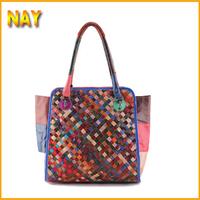 Free Shipping Wholesale100% Genuine Leather Women Messenger Bag Tote Woven Pattern OL Handbag Fashion Shopping Bag