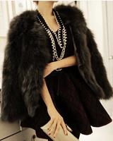 Fur faux fur coat  fox hair  hair cape jacket black and white fur overcoat imitation rabbit fur faux fox collar