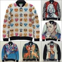 Alisister 2014 women emoji coat marilyn monroe/Miley Cyrus/rihanna/basketball jacket veste femme 3d print coats chaqueta hombre