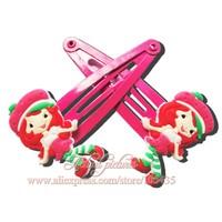1pairs Strawberry  Shortcake  Cartoon Logo Cute Baby Girls Kids Hair Clip/ Elastic Hair Bands/ Hair Accessories,Christmas Gift