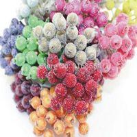 100pcs(200Heads) 12mm Double heads High simulation glass pomegranate strong stem glass fruit stamen flower stamen craft DIY