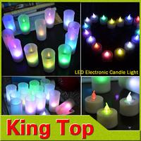 Whloesale 9PCS RGB Led Candle Colourful night lights Wind Sensor Switch Lamps Magic Romantic Heatless Lighting