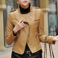Free Shipping 2014 Women Fall Spring Pu Leather motorcycle jacket,Plus Size  Slim Leather Coat   M L XL 2XL 3XL 4XL