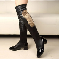women autumn and winter warm martin boots flat heels female knee high over the knee motorcycle boot shoes sys-211