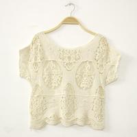 verao vintage casual cropped tops for women crochet lace blusa tee embroidery camisetas renda crop top t shirt blusas femininas