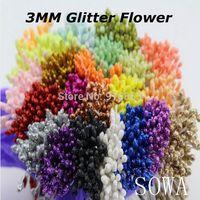 Free Shipping 3mm 1800pcs Double Tips Multicolor Floral Glitter Flower Stamen Pistil Cake/Card/Wedding Decoration Craft DIY