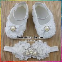 Christening baptism Baby shoes headband set,Rhinestone/pearl Crown toddler boots,rosset sapatos bebe girl #2T0031 3 set/lot
