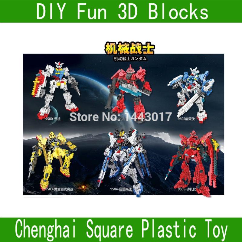 LOZ Robot brocks Minifigure toys Construction set toys LOZ blocks assemble toys Square blocks Warrior 9350-9355 GUNDAM(China (Mainland))
