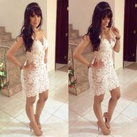 Sexy Club Dress 2014 Vestido Branco Renda Slim Women Crochet Short Dress Stitching Hollow Vestidos Verao