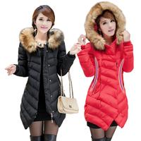 2014 new winter long coats female Korean models large plus size women casual Slim padded jacket collar  winter coat women