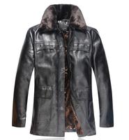 2014 Men'S Winter Jacket  Fur Collar Plus Velvet Thick Leather Jacket Men'S Brand Coat  Men'S Classic Leather Jackets XG-214