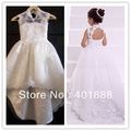 cap sleeve white lace applique long trail backless flower girl dress