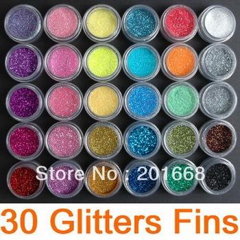 Free Shipping - 30 colors Nail Art Glitter Dust Eye shadows Powder, 30colors each set - NA286