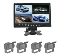 free shipping! 9 Inch Split Quad  Rear View  Car Monitor + 4 x CCD IR Night Vision Rear View Camera Waterproof For Car Truck Bus