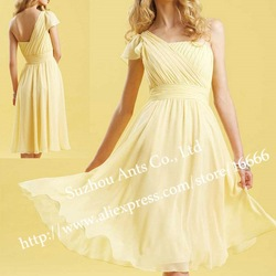 Fashion Chiffon Knee Length Pale Yellow Bridesmaid Dress One Shoulder BD632(China (Mainland))