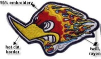 Wholesales 50pcs/lot Embroidery Biker Badge-eagle head with fire N4025
