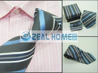 Wholesale tie100%silk shirts ties+handkerchief+cuff button,black ripstope with stripes 10sets/lot,s232