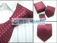 Wholesale Neckties Men's Ties Necktie+handkerchief+cuff buttons,red with white dots,40sets/lot, s047