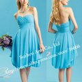 Chiffon Ruffle Sweetheart Light Blue Chiffon Pleated Short New Bridesmaid Dress BD637 Knee Length