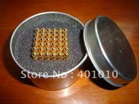 216 pcs 5mm Golden Magnet Neodymium Buckyball Neo Sphere Cube Free Shipping