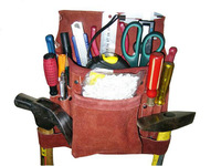 8-Pocket Professional Leather Nail and Tool Bag, tool pouch, carpenter's bag