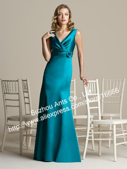 Free Shipping V-neck Tank Blue Satin Long Bridesmaid Dress GW350 Handmade Flower(China (Mainland))