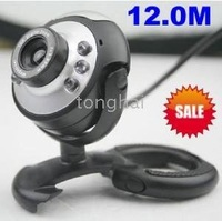 Digital zoom with built-in microphone 10pcs/lot PC Laptop USB 12.0M Pixel Web Cam Camera Webcam Free shipping to USA Canada