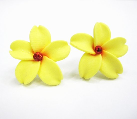 Size 15mm 20colors HOT-SALE Plumeria Flower earring studs(Mosaic Crystal)(China (Mainland))