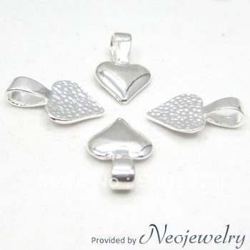 Sterling Silver Plated Heart Glue on Bails, Shiny Silver Bails for Glass Tile Pendants Making