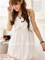 Korean&Japanese style Ladies dress wholesale Creased Ribbon lantern dress,brial dress,party dress,white,pink,grey& Free Shipping