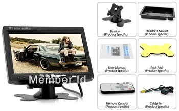 7 Inch Car Headrest Monitor - 800x480, 130 Degrees Viewing Angle (Black)