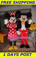 Wedding Micky minnie Mouse Couple mascot Costume Adult Free shipping