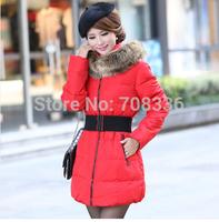 2014 winter snow wear women fur collar down wadded jacket outerwear slim medium-long plus size thickening cotton-padded jacket