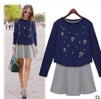 Sweet 2014 women's twinset one-piece dress print preppy style long-sleeve sweatshirt basic skirt set  ladies casual hoody