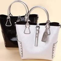 High Quality Female crocodile pattern leather handbags Women Vintage Snake Grain Bucket totes bags SW4000