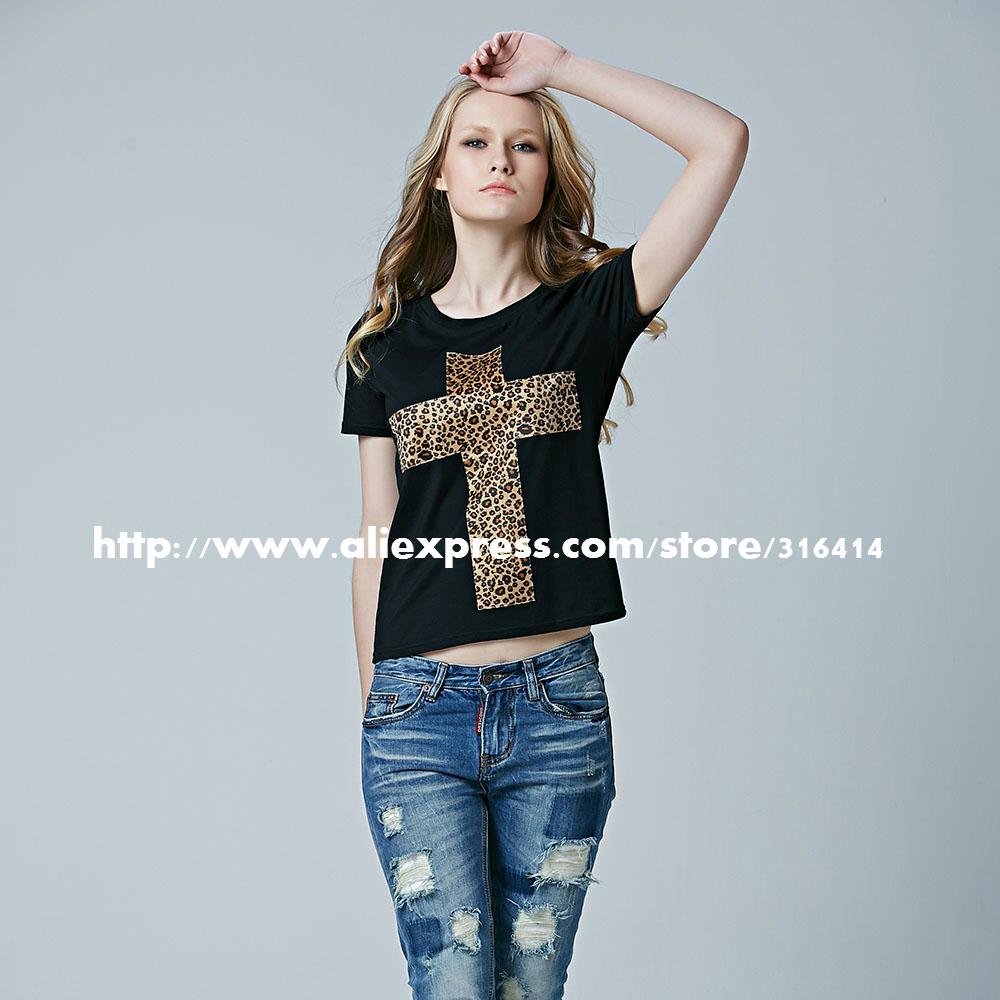 Новые прибыли европейских леопардовым принтом футболку,