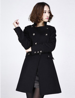 Double-breasted women's 2014 autumn and winter High waist coats woolen overcoat outerwear medium-long wool fleece Class products