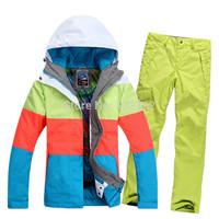 Gsou snow ski suit set Women ski skiing pants suit female thermal thickening